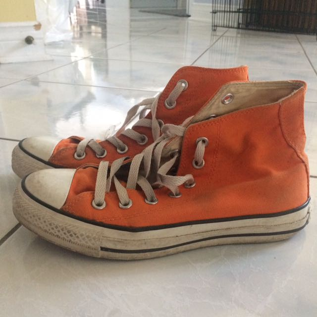 Orange high-cut converse
