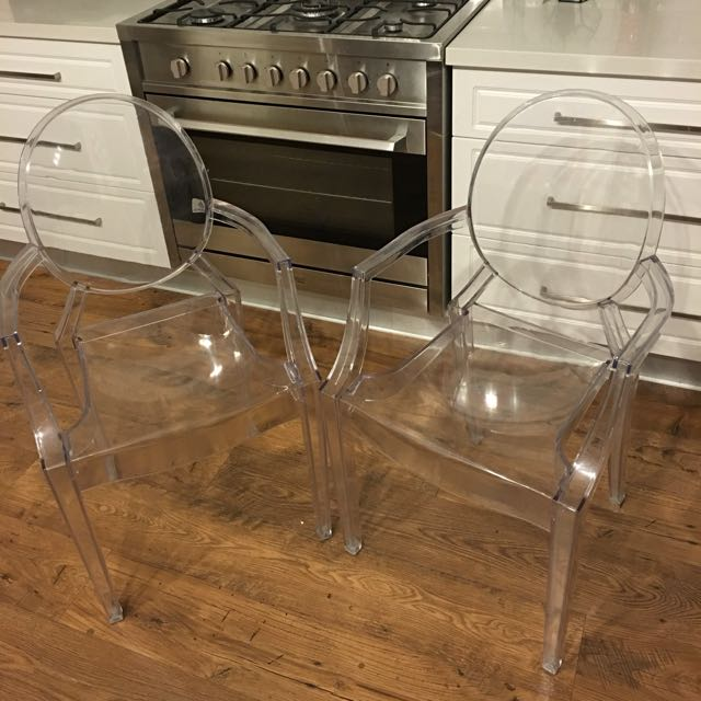 Pair Of Replica Philippe Starck Louis Ghost Armchairs