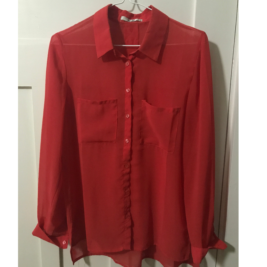 Papaya long-sleeved red blouse