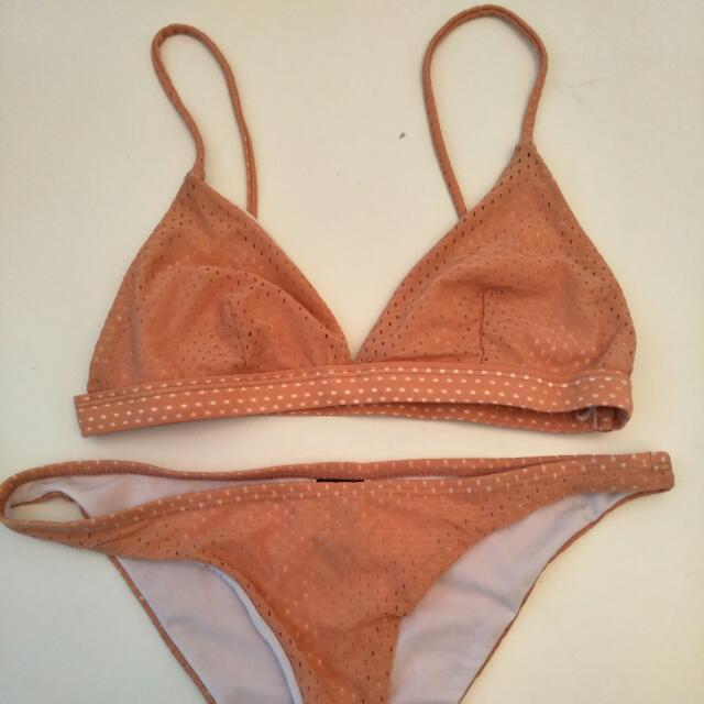 Peach/Tan Cheeky Bikini Set