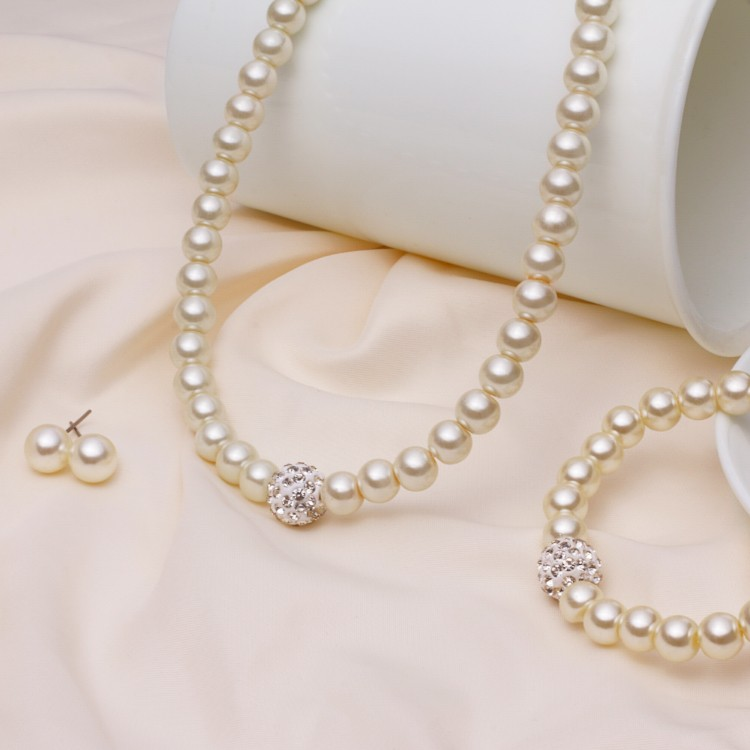 2fbd7aafbe Pearl Jewelry Sets Earrings Necklace Bracelet Fashion Imitation Natural  Pearl Beads Wedding Jewellery Set Accessories, Women's Fashion, Jewellery  on ...