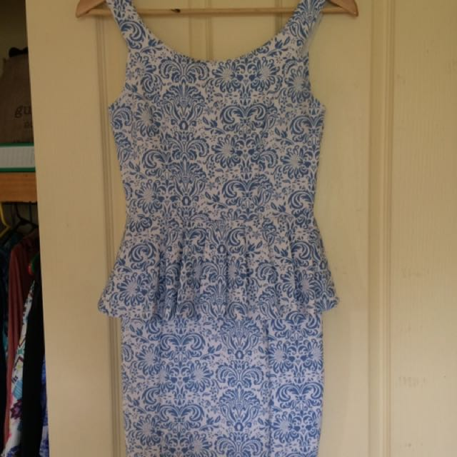 Peplum Going Out Dress - Blue And White