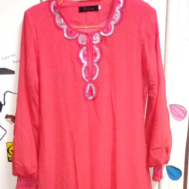 Pink Peach Baju Kurung