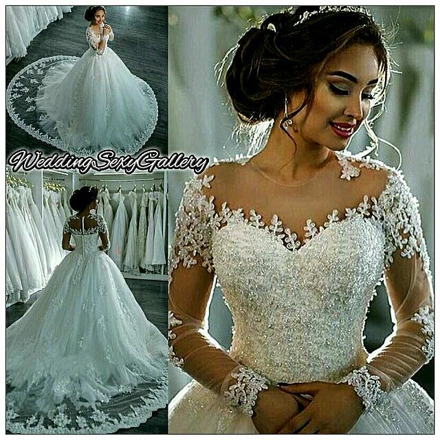 #39🌹◾Pre-Order◾🌹 Vestidos De Noiva Lace Wedding Dresses Long Sleeve Boat Neck Button Appliques Ribbon Ball Gown Robe De Mariage Bridal Dress