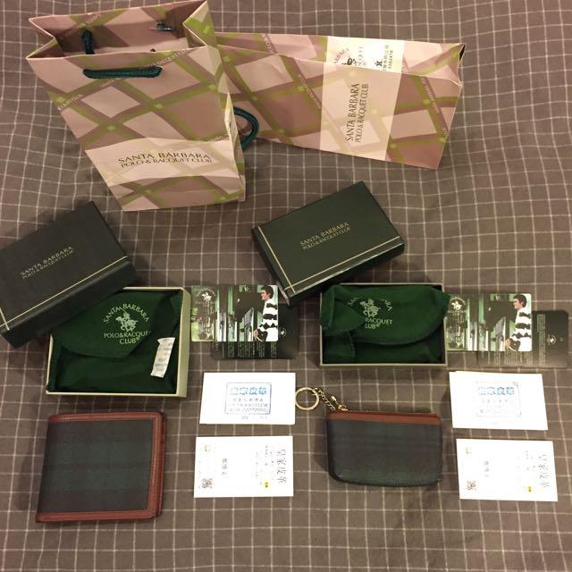 Polo 小馬 Santa Barbara 小牛皮 皮夾 零錢包包 鍍金 綠格紋 *6卡位 超薄短 攜帶方便 多卡位  ( 售整組、原廠配件皆在、正常使用痕跡 )