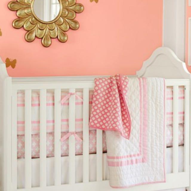 Pottery Barn Cot Bumper - Light Pink
