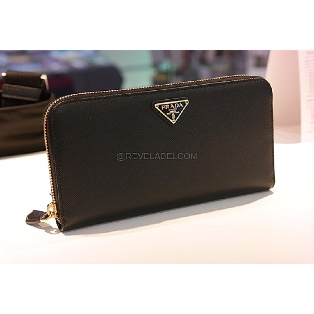 368a3ba0ce8a Prada Saffiano Triangle Zip Wallet Black Gold Hardware 1ML506 QHH ...