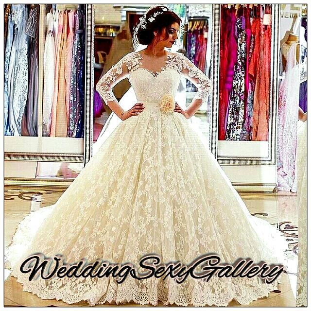 #12🌹◾Pre-Order◾🌹 Vestido De Noiva 2017 New Vintage Long Sleeve Princess Wedding Dress Appliqued Lace Ball Gown Bridal Dress Robe De Mariage