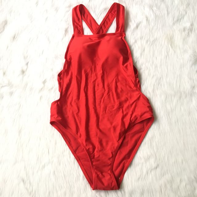 Red One Piece High Cut Cross Back Swimsuit