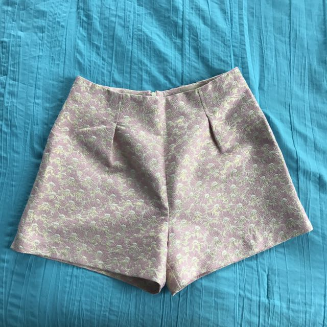 River Island Pink Gold High Waisted Flower Shorts