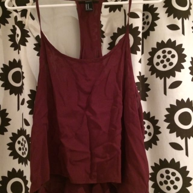 Simple Maroon Racerback Crop Top