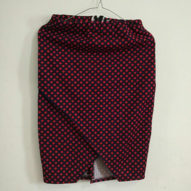 Skirt Polkadot Red Navy