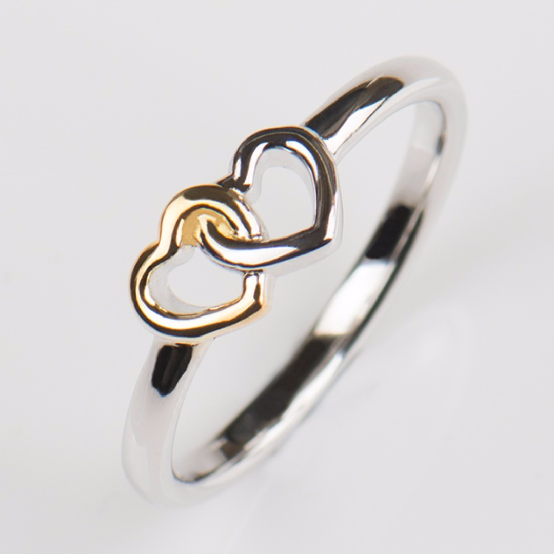 Soild 925 sterling silver Heart Ring 2017 Collection Summer Bands New Jewelry Double Hearts silver rings for women