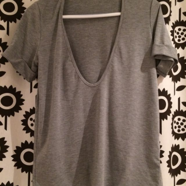 Super Low Cut Neck Tee Shirt