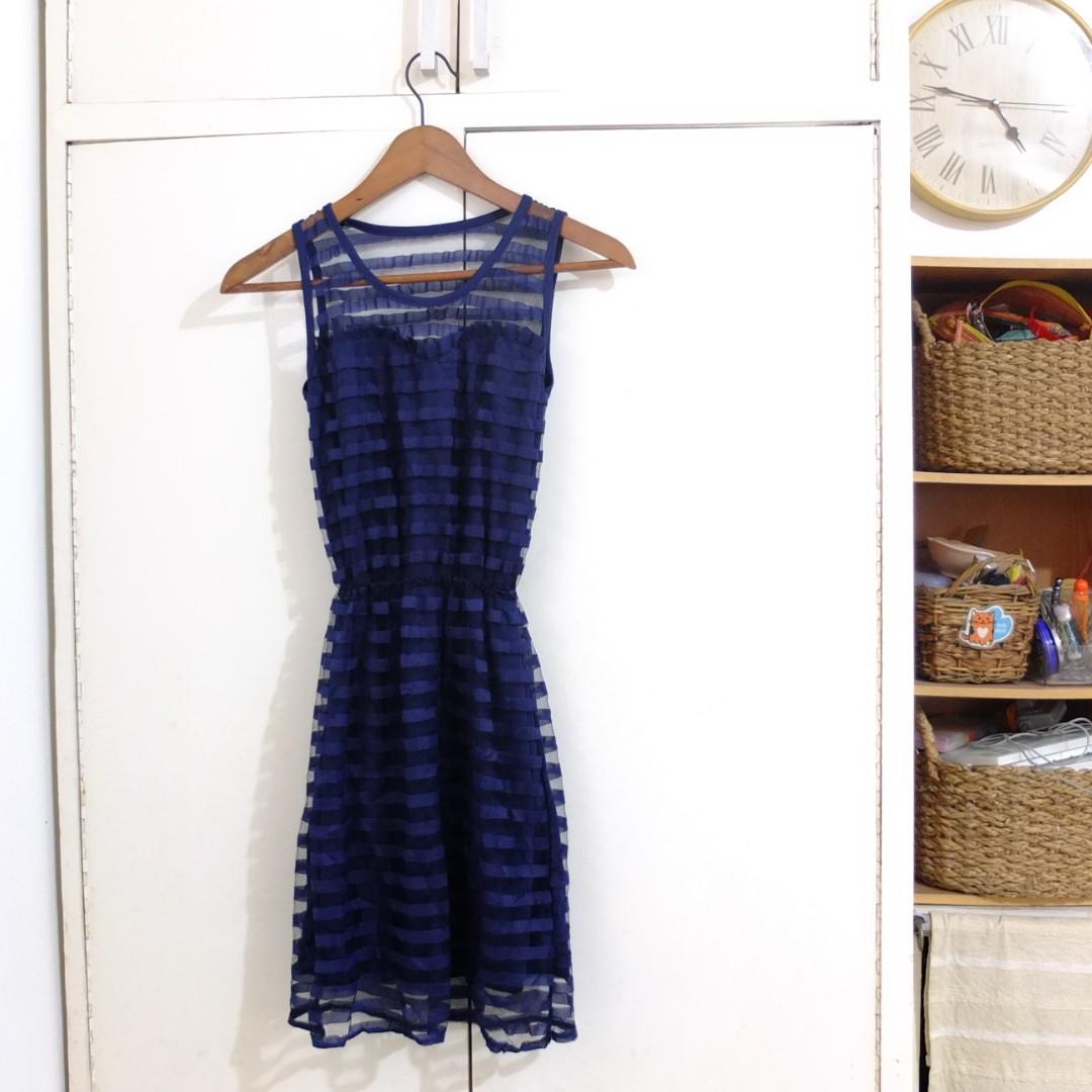 Sweetheart Navy Blue Chiffon Dress