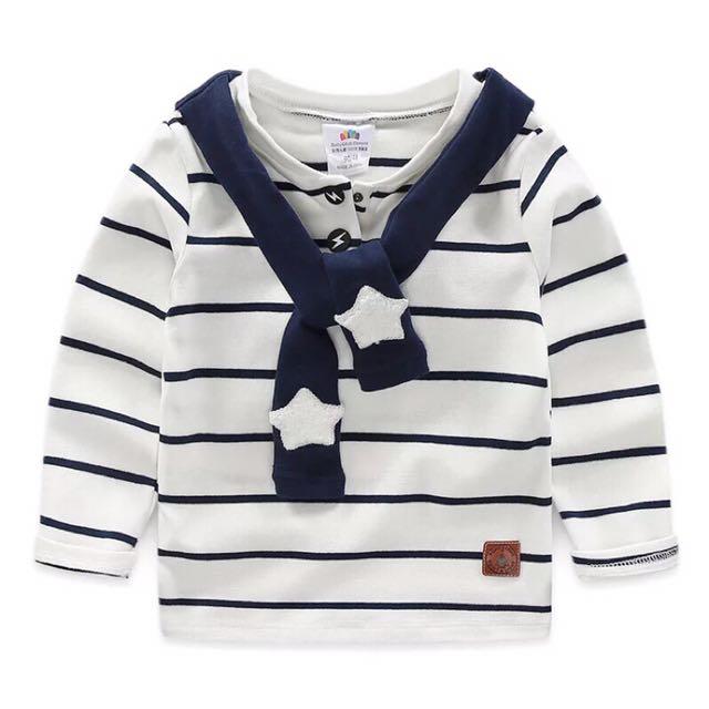 男童裝海軍風領結水手領橫條紋長袖T110
