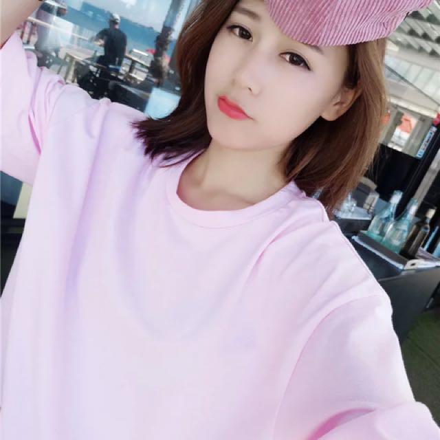 網紅款寬鬆舒適粉紅少女TShirt