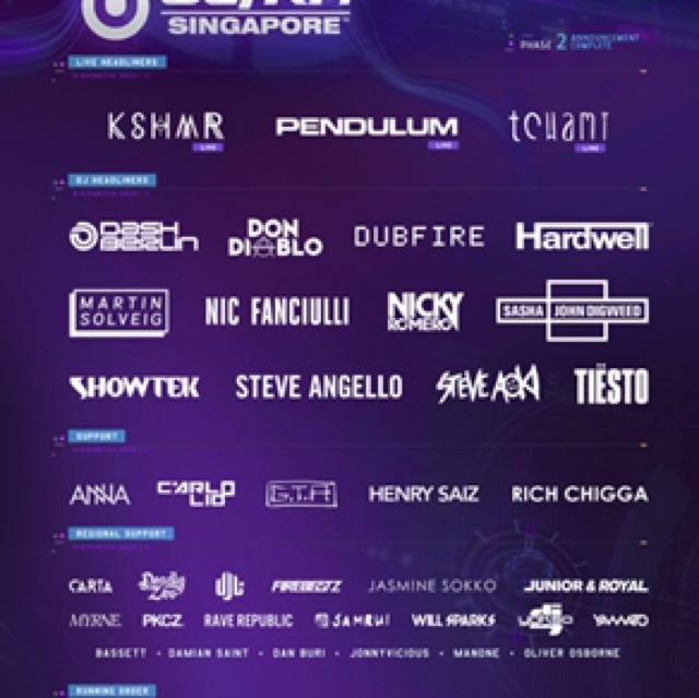 Ultra SG 2017 GA x 2 Tickets
