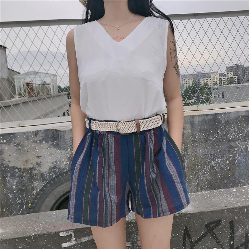 V領吊帶上衣+復古條紋休閑短褲*現貨+2色預購【CATJIN.SHOP⭐TB06-04】