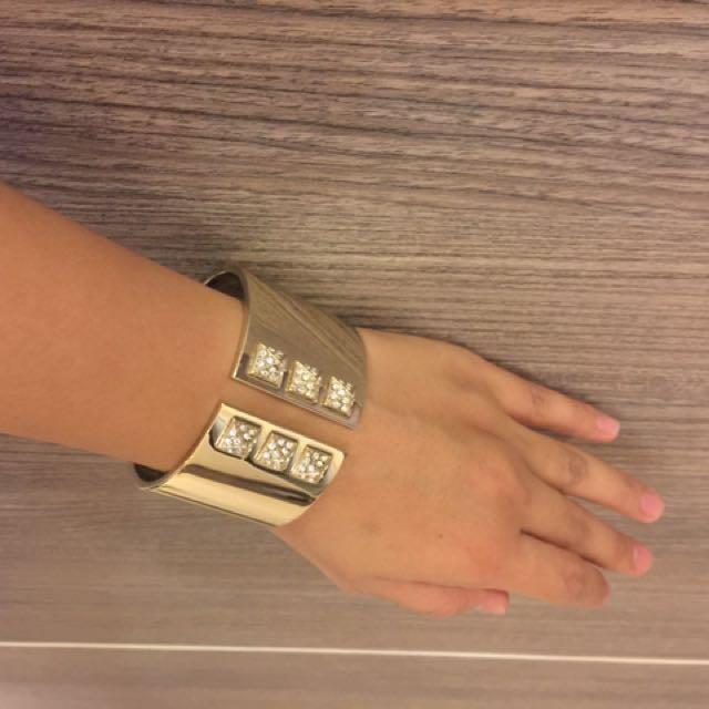 Victoria's Secret Gold Cuff Bracelet With Pyramid Rhinestones