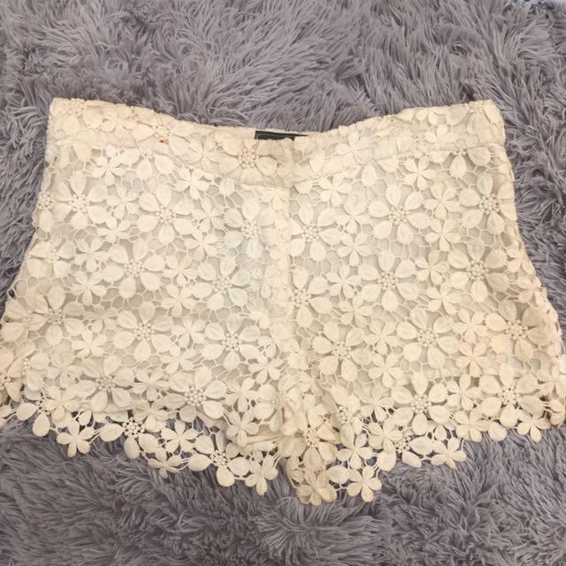 White Crochet Lace Shorts