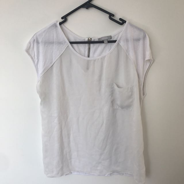White Top With Sheer Front