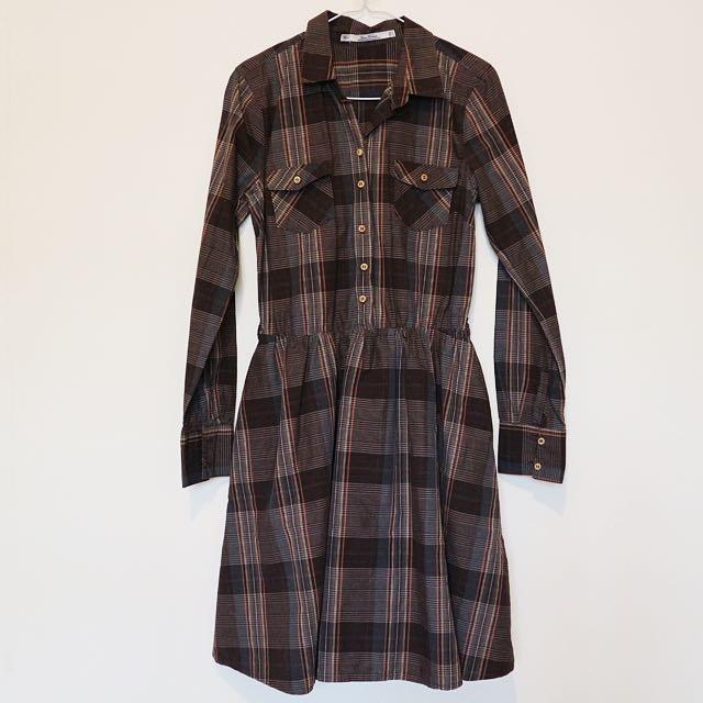 Zara Plaid Brown Shirtdress