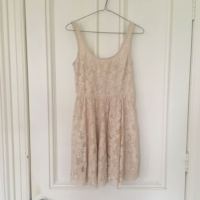 Zara TRF Cream Lace Skater Dress - Never Worn - Size Small