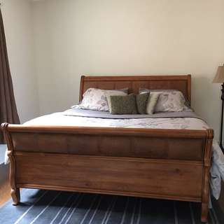 King Wood And Leather Sleigh Bed Frame