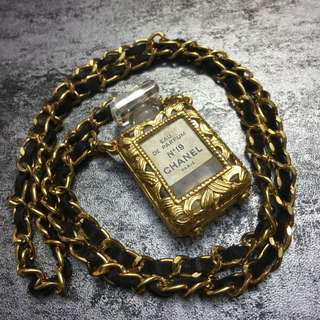 Vintage Chanel Perfume Bottle Necklace Chain Rare N19