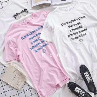 RENA可愛字母小蘋果印花韓國夏季顯瘦百搭學院風圓領棉質短袖T恤