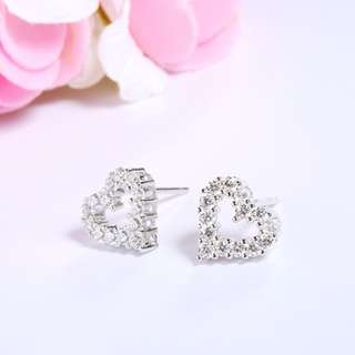 925 sterling silver lovely 925 silver heart AAAAA Full of Zircon earrings jewelry