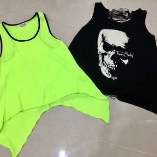 Black & Green Tank Top