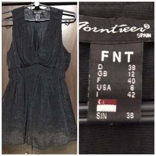 Top: Tunic, Size 38, Black