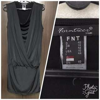 Dress: Comfy Lycra Stretchable Material, Size 40, Black (by FNT)