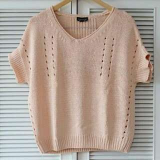 Topshop Peach Knitted Top