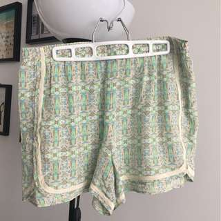 100% silk patterned shorts