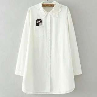 貓頭鷹棉麻白花邊領襯衫