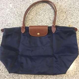Longchamp Original Long Handle Navy Blue