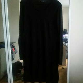 Plus Size Sheer Black Long Sleeve Dress-size 18uk