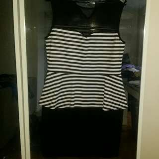 Plus Size B&W Peplum Dress-size X