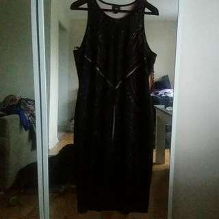Black Cutout W Nude Slip- Size L