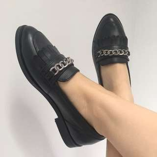 Topshop Black Chain Loafers