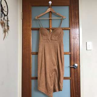 Amazing!! Suede Dress Size 10 Fitted Bodycon