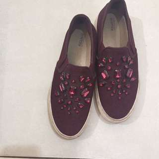 Pull And Bear Jeweled Slip Ons