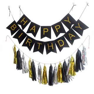 Happy Birthday Party Black Banner with Tassel Garlands