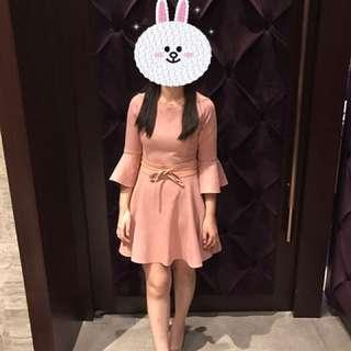 粉色 婚禮 洋裝 荷葉擺 七分袖 腰帶