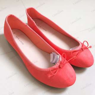 [NEW] [Branded] New Look Ballet Pumps in Coral Flat Shoes Ballerina