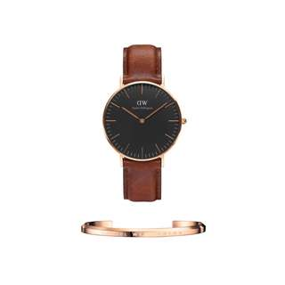 Authentic/Legit/Oroginal Daniel Wellington Classic Black St. Mawes 36mm Rosegold Watch and DW Cuff Rosegold Small