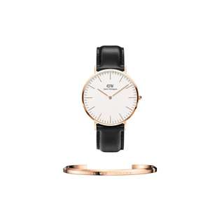 Authentic/Legit/Original Daniel Wellington Classic Sheffield 36mm Rosegold Watch and DW Cuff Rosegold Small